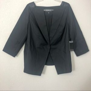 Eloquii   NWT Black Blazer Leather Trim Shoulders